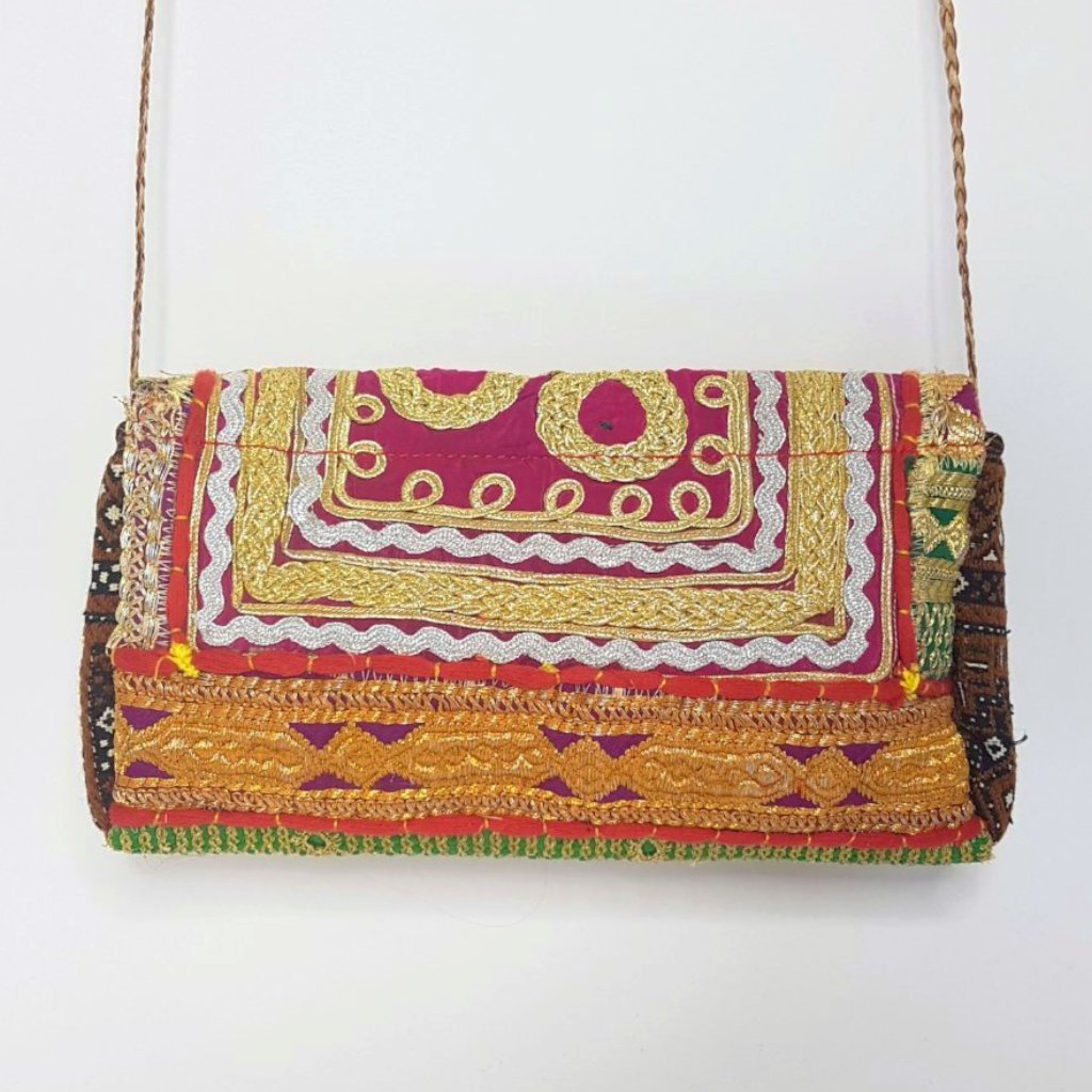 hot haveli miquela vintage embroidered clutch bag back hanging