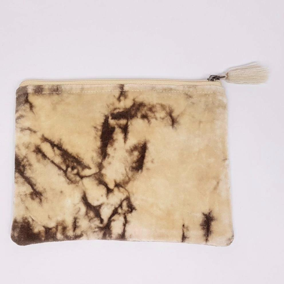 hot haveli lahela hand tie dye velvet cotton pouch mushroom front