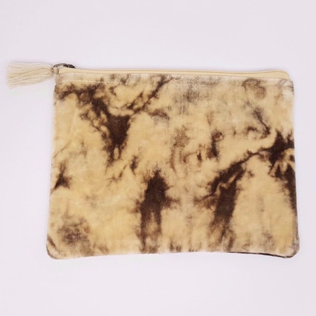 hot haveli lahela hand tie dye velvet cotton pouch mushroom back