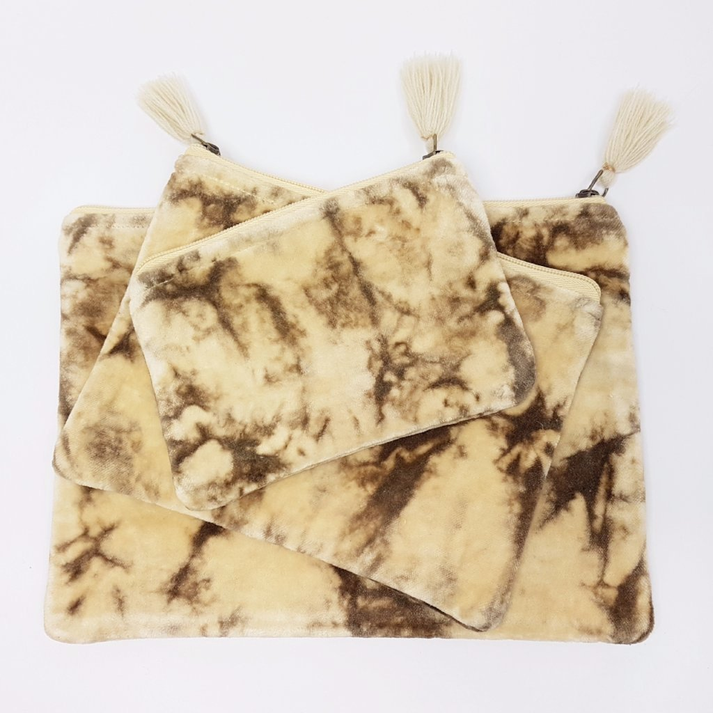 hot haveli lahela hand tie dye velvet cotton pouch mushroom set