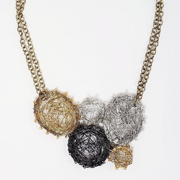 Madhuri Wire Art Circles Necklace - Multi-Metals
