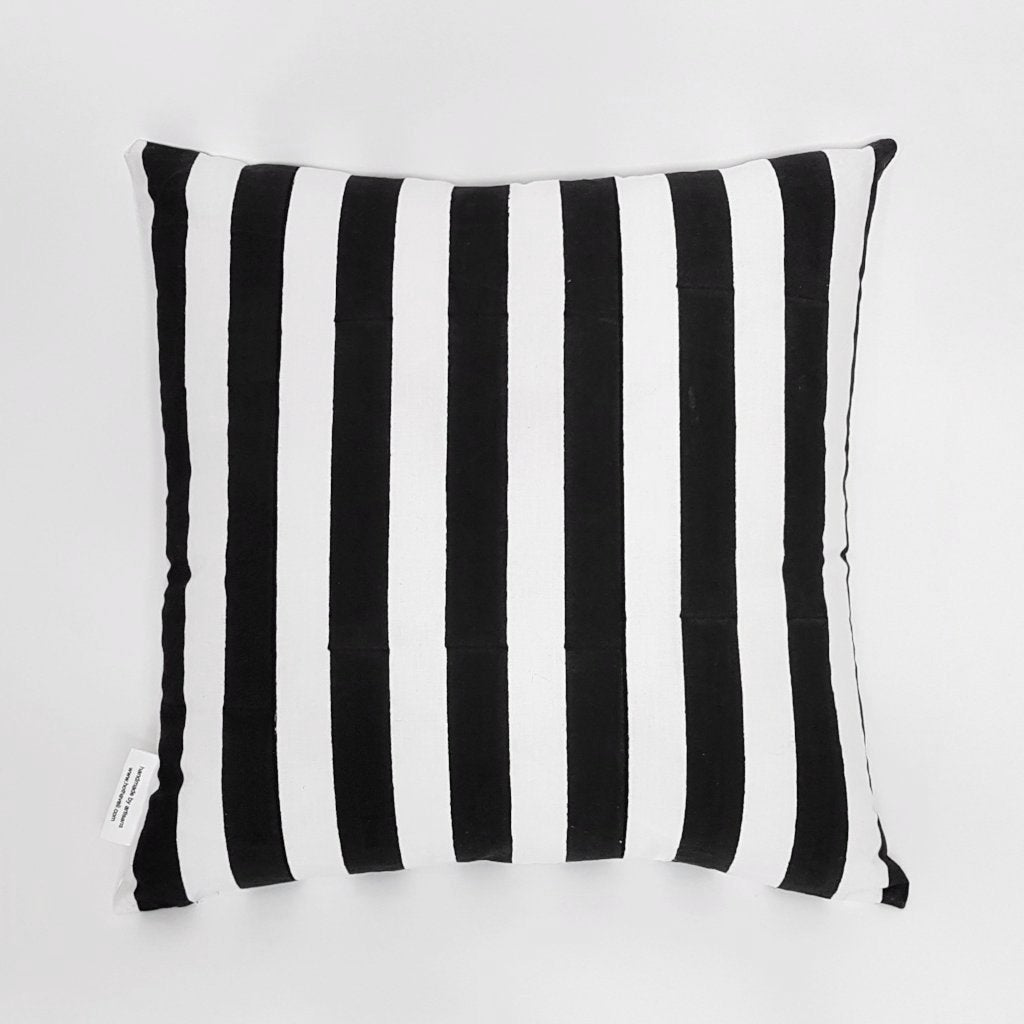 hot haveli quinn block print mono black and white stripe cushion