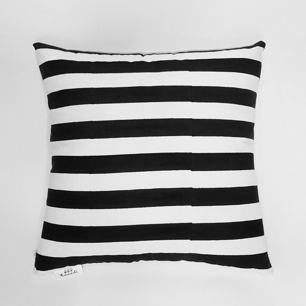 hot haveli quinn block print mono black and white stripe cushion back