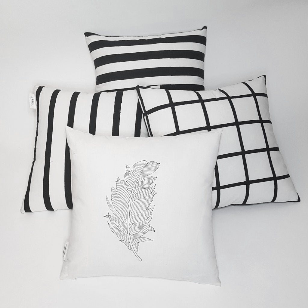 hot haveli unity botanical leaf white cushion styled