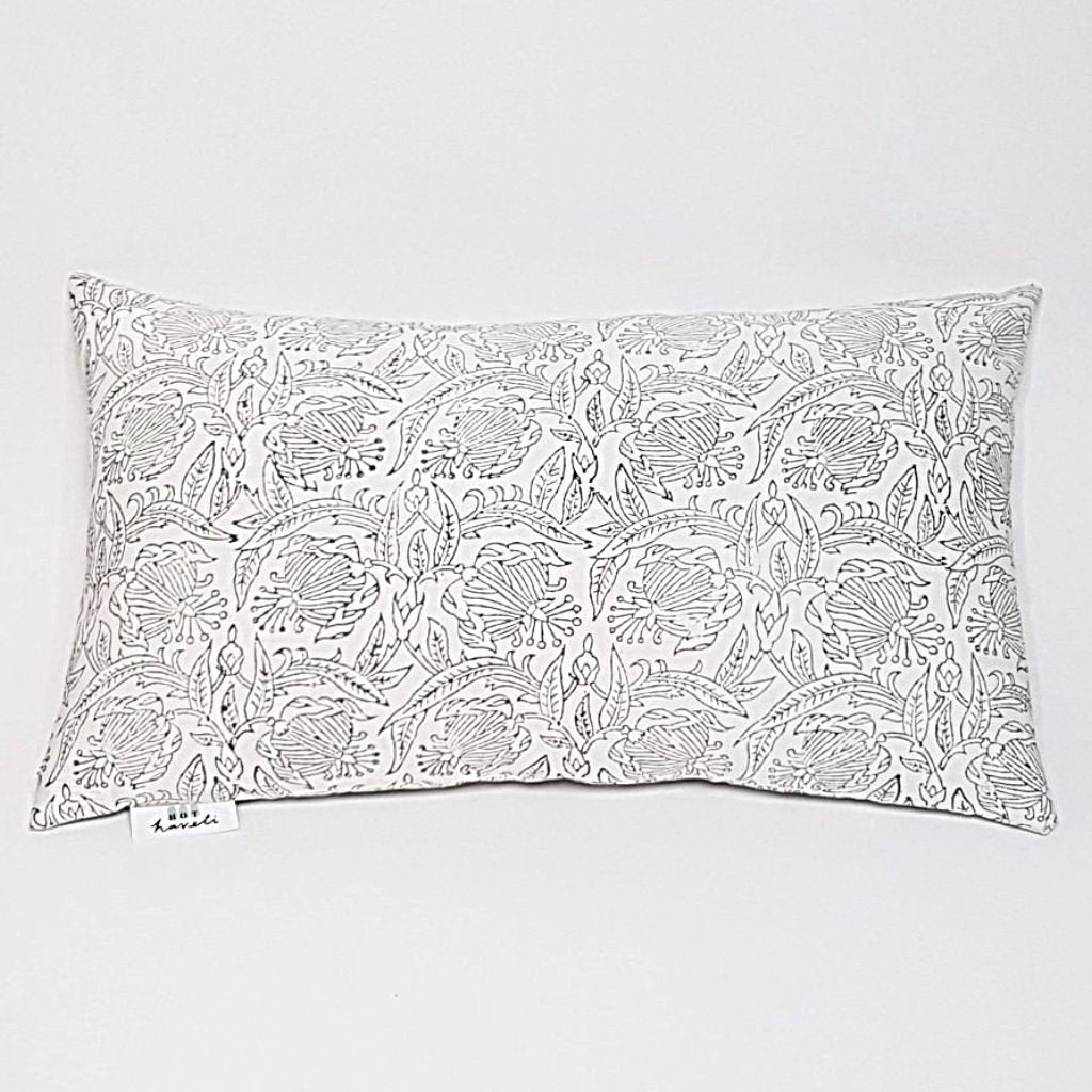 hot haveli verda block print botanical grey pillow cushion