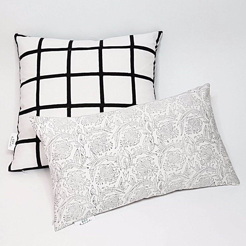 hot haveli verda block print botanical grey pillow cushion styled