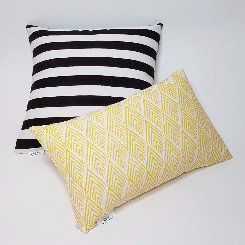 hot haveli quinn block print mono black and white stripe cushion styled