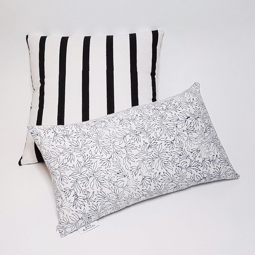 hot haveli raven hand block print thin black stripe cushion style