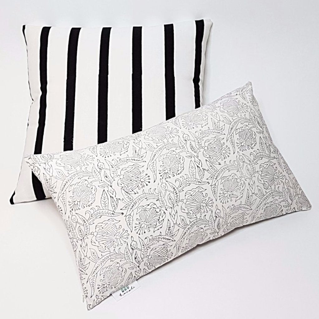 hot haveli verda block print botanical grey pillow cushion styling