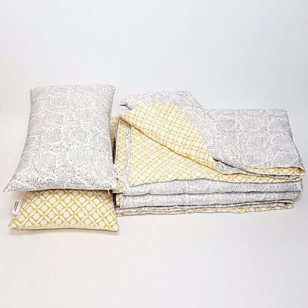 hot haveli winona hand block print grey and yellow kantha bedspread