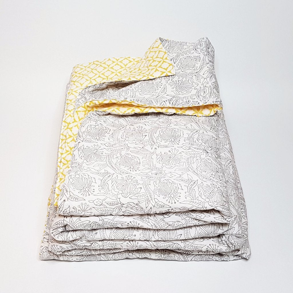 hot haveli winona hand block print grey and yellow kantha bedspread 2