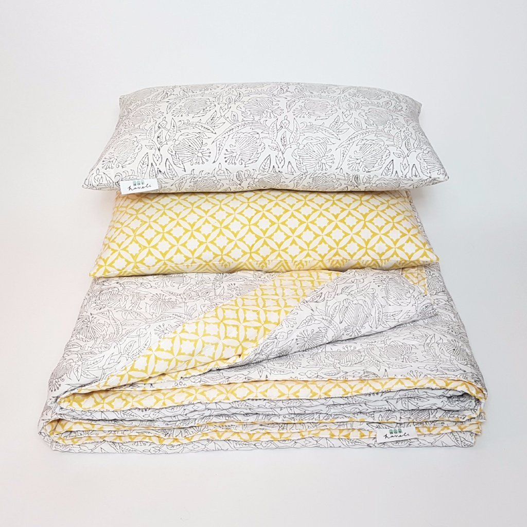 hot haveli winona hand block print grey and yellow bedspread styled