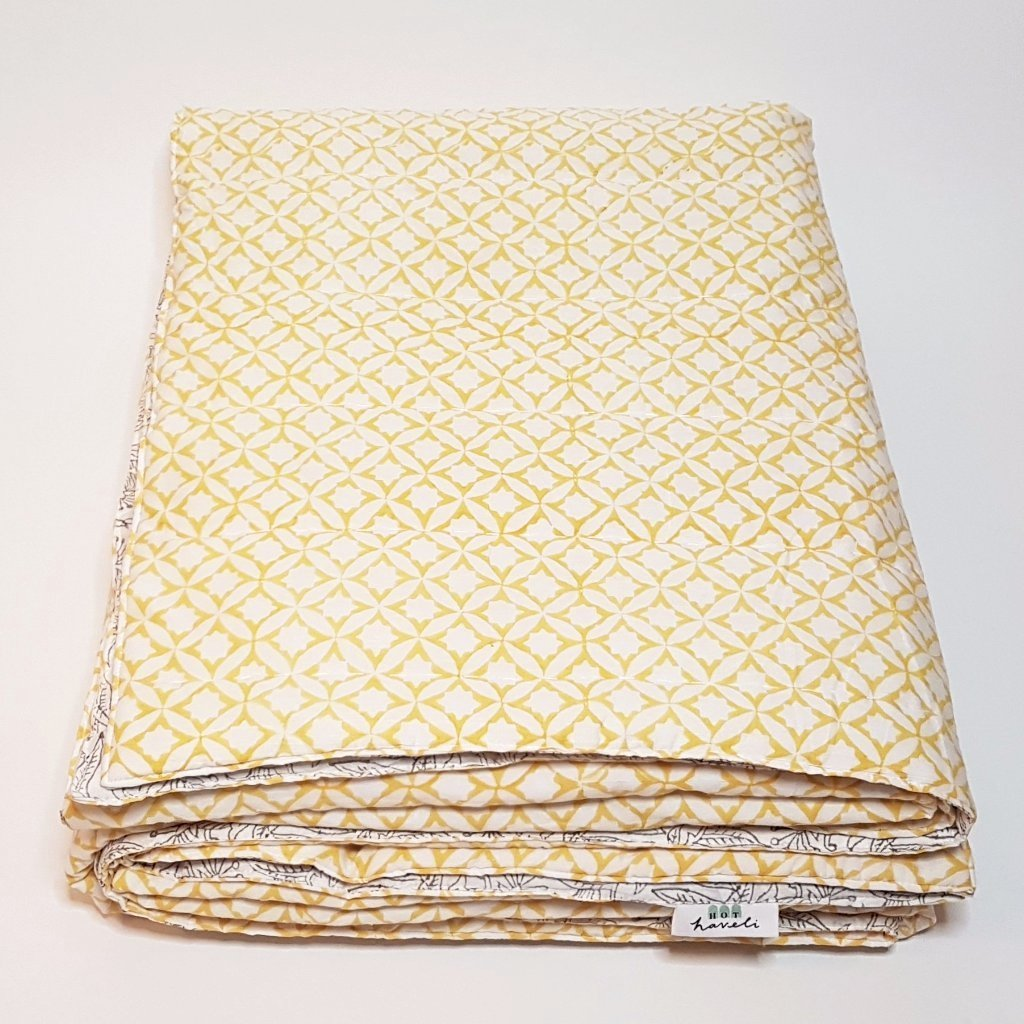 hot haveli winona hand block print grey and yellow bedspread yellow