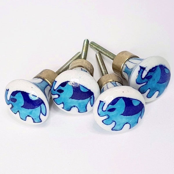 hot haveli ellie jaipur pottery door knob set elephant