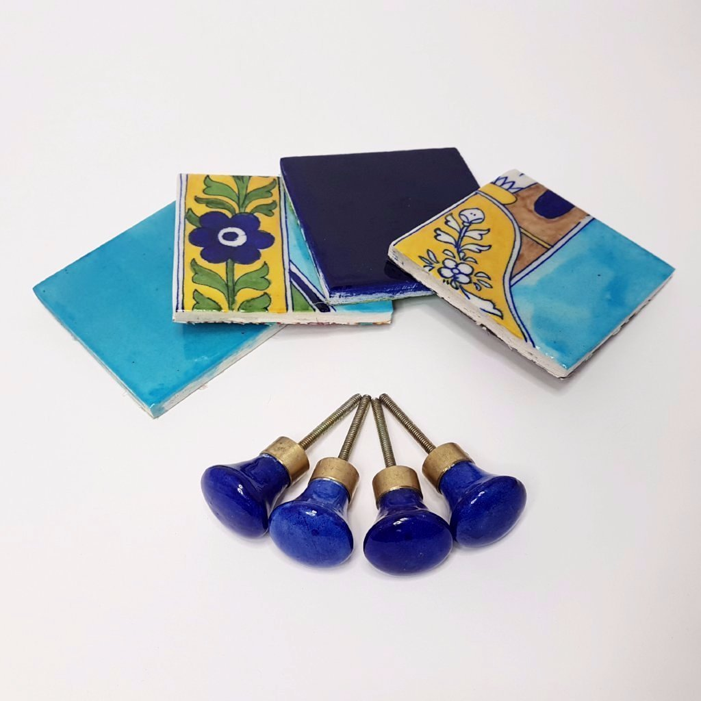 hot haveli flore jaipur blue pottery coaster set styled