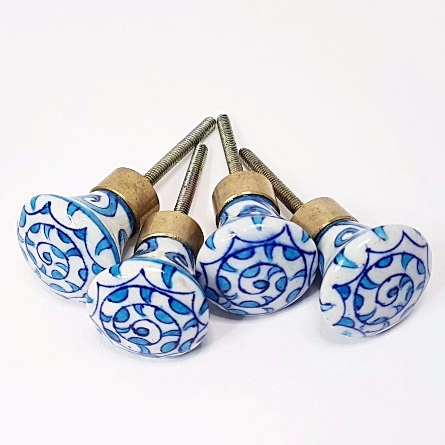 hot haveli bunty jaipur blue pottery handmade door knobs set of 4 style