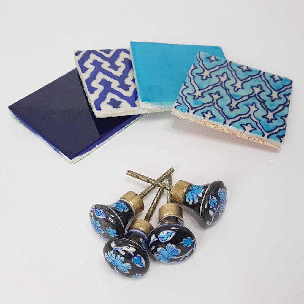 hot haveli tilly jaipur blue pottery coaster set blue styled with knobs