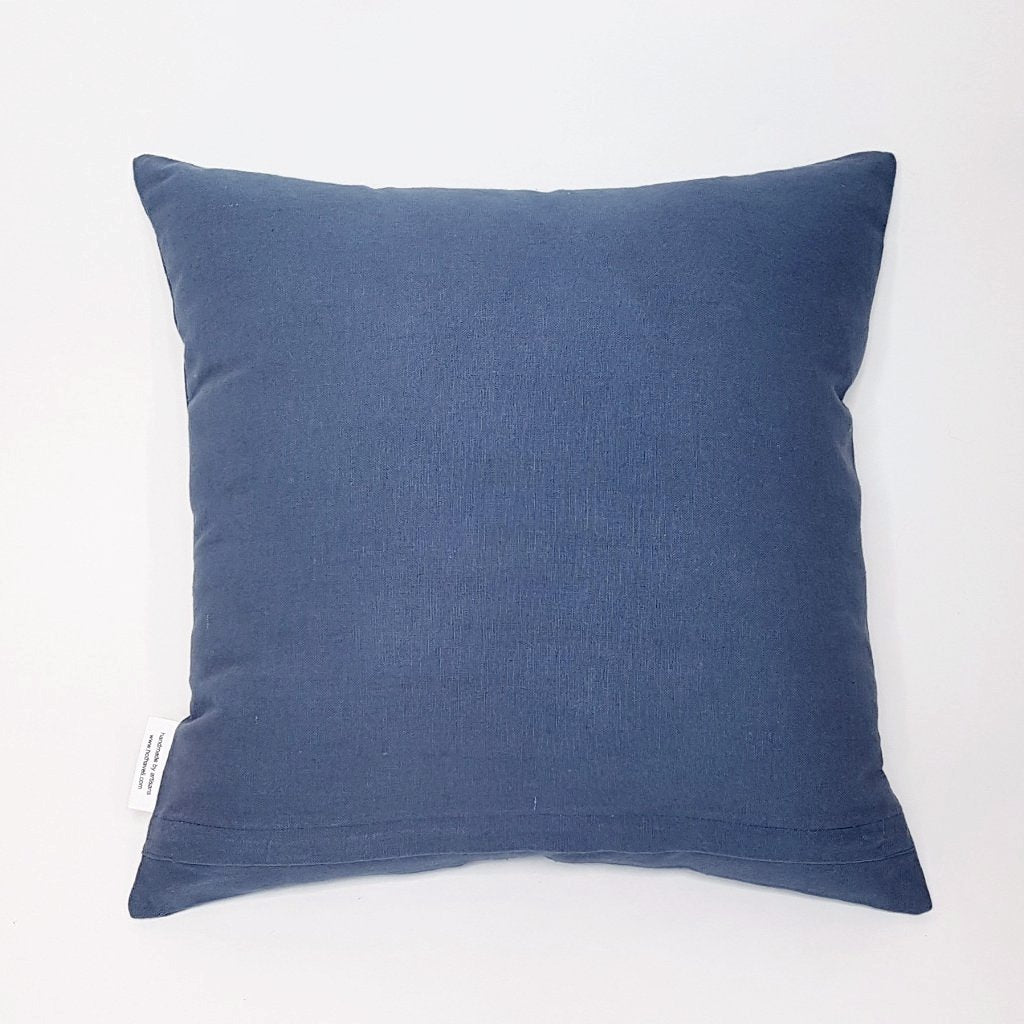 Hot Haveli Kai stonewash cotton cushion dark blue back