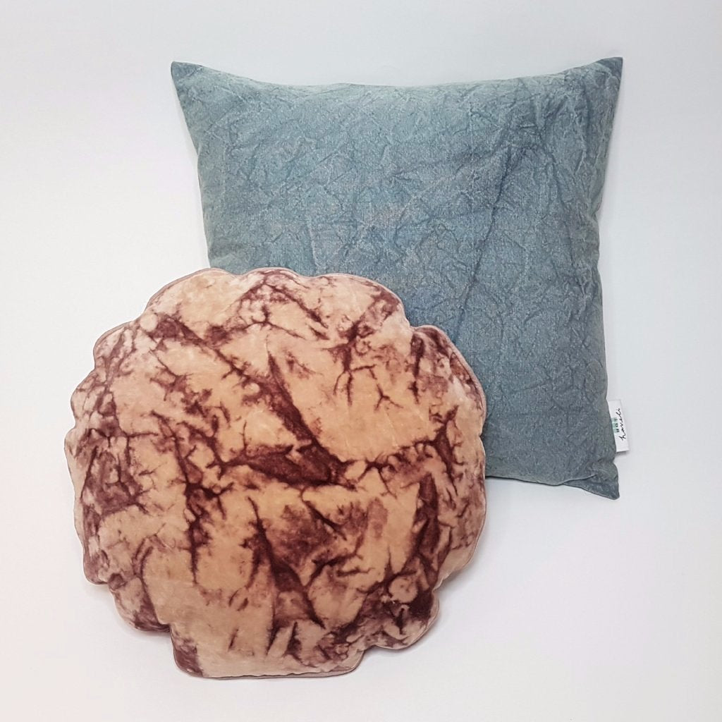 Lahela Marble Cotton Velvet Cushion - Round Flower