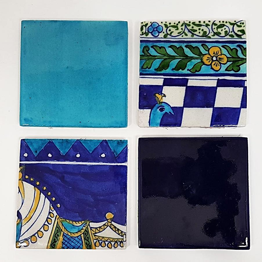 hot haveli ariana hand painted jaipur blue pottery coaster set