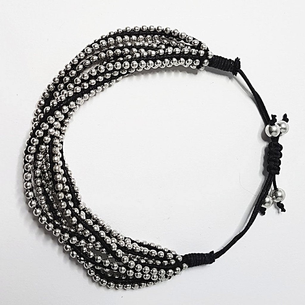 hot haveli farah silver and black friendship bracelet fits any size