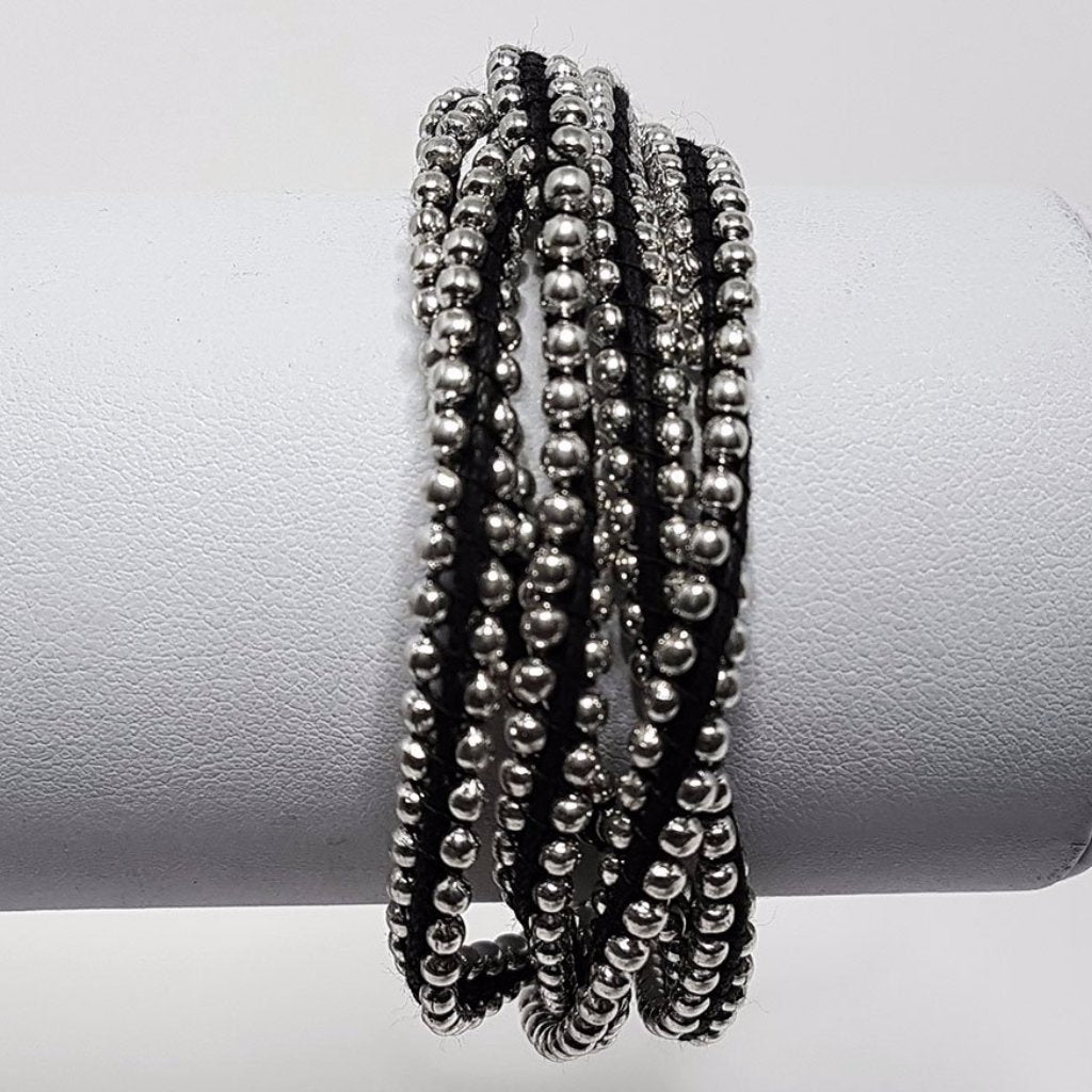 hot haveli farah silver and black friendship bracelet