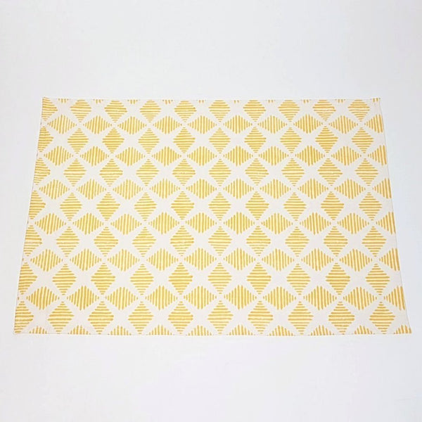 Hot Haveli camille hand block print tea towel yellow front