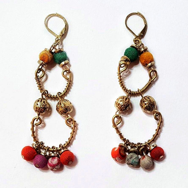 hot haveli quadira recycled sari earrings