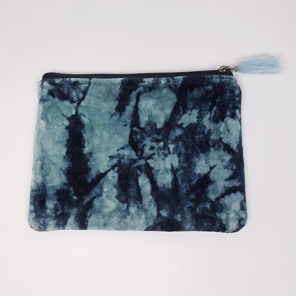hot haveli lahela hand tie dye velvet cotton pouch blue front