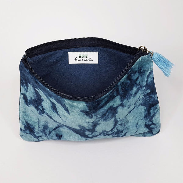 hot haveli lahela hand tie dye velvet cotton pouch blue