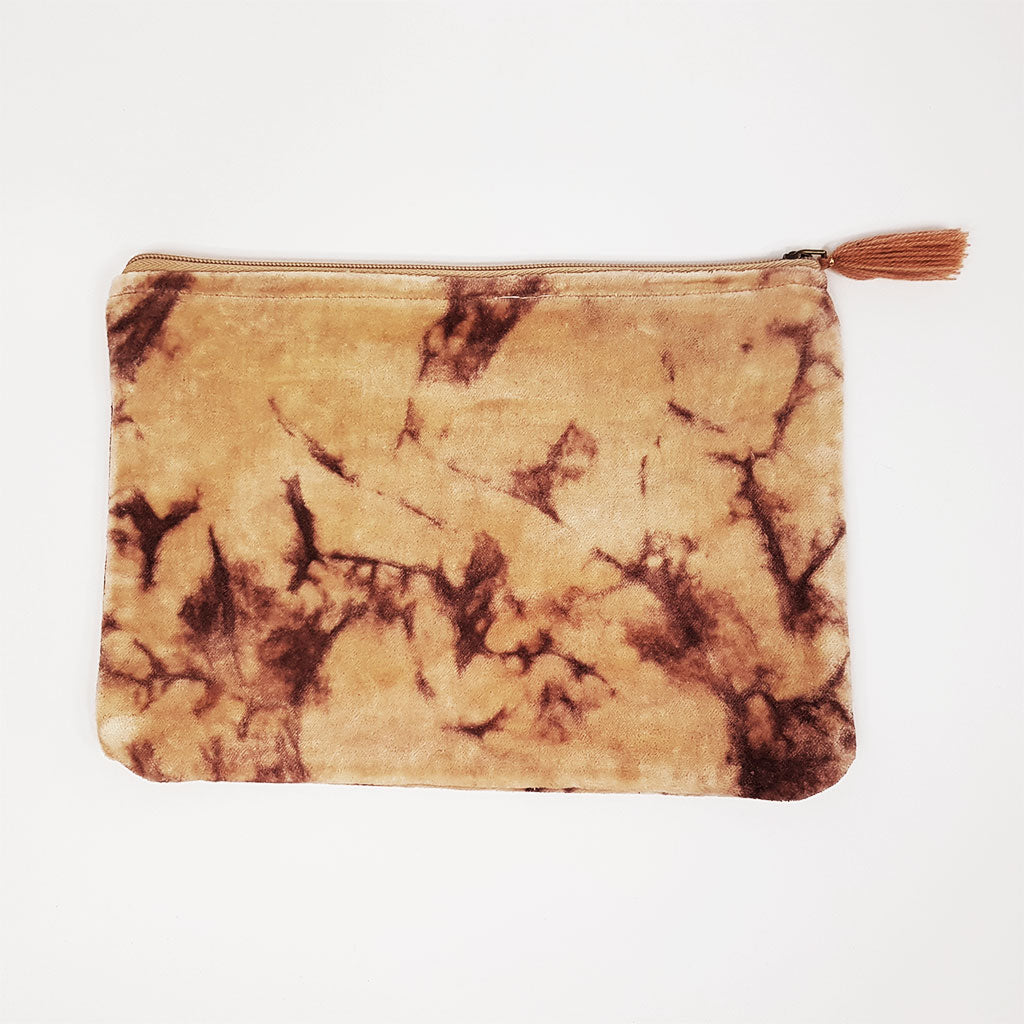 hot haveli lahela hand tie dye velvet cotton pouch blush front