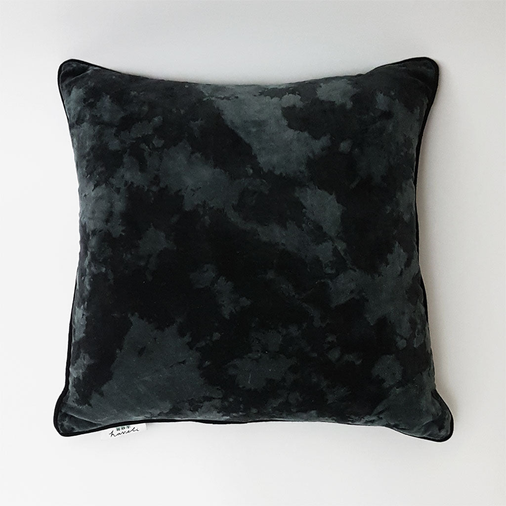 Lahela Marble Cotton Velvet Square Cushion - Slate