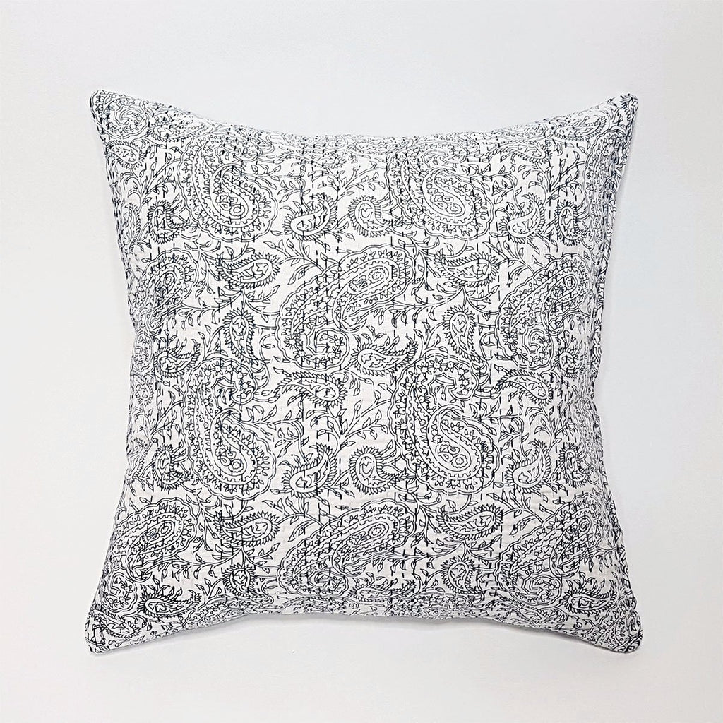 hot haveli aaliyah block print kantha cushion reverse blue