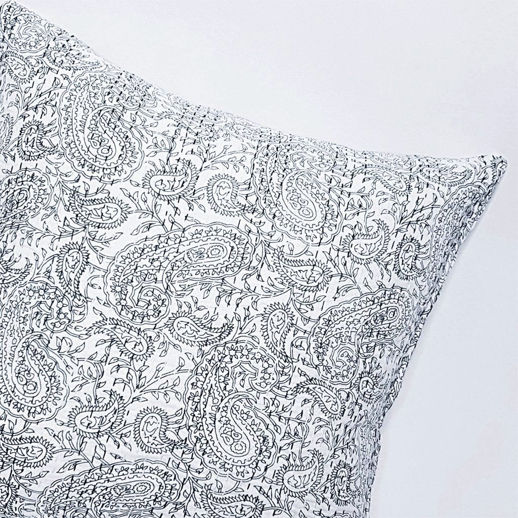 hot haveli aaliyah block print kantha cushion blue