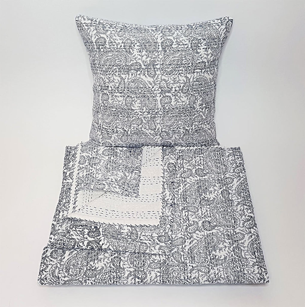 hot haveli aaliyah block print kantha cushion bedspread blue
