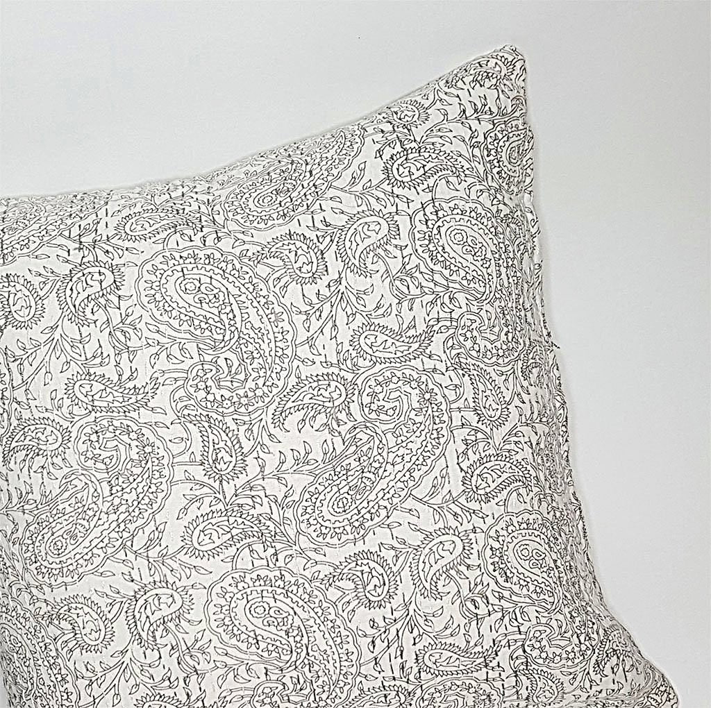 hot haveli aaliyah block print kantha cushion stone grey 2