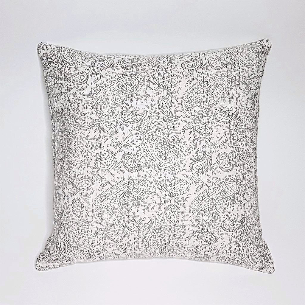 hot haveli aaliyah block print kantha cushion stone grey