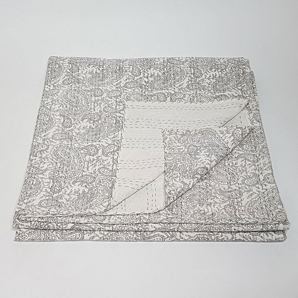 hot haveli aaliyah block print kantha bedspread stone grey one