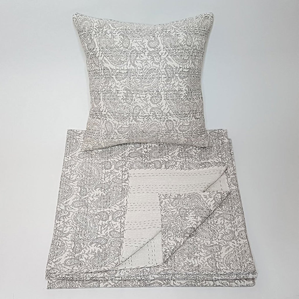 hot haveli aaliyah block print kantha bedspread stone grey folded