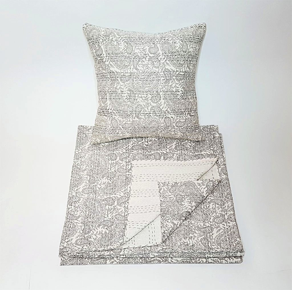 hot haveli aaliyah block print kantha cushion stone grey bedspread