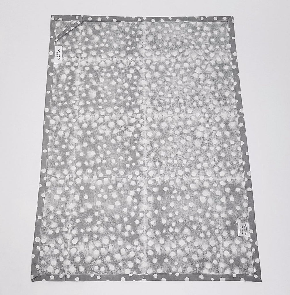 hot haveli alana hand block print polka dot tea towel grey back up