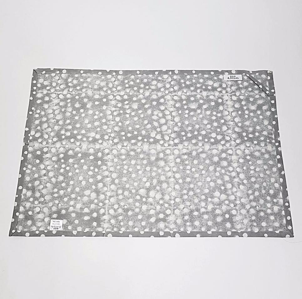 hot haveli alana hand block print polka dot tea towel grey back