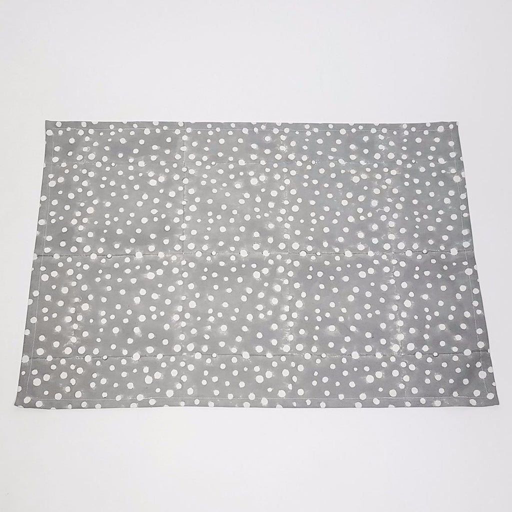 hot haveli alana hand block print polka dot tea towel grey
