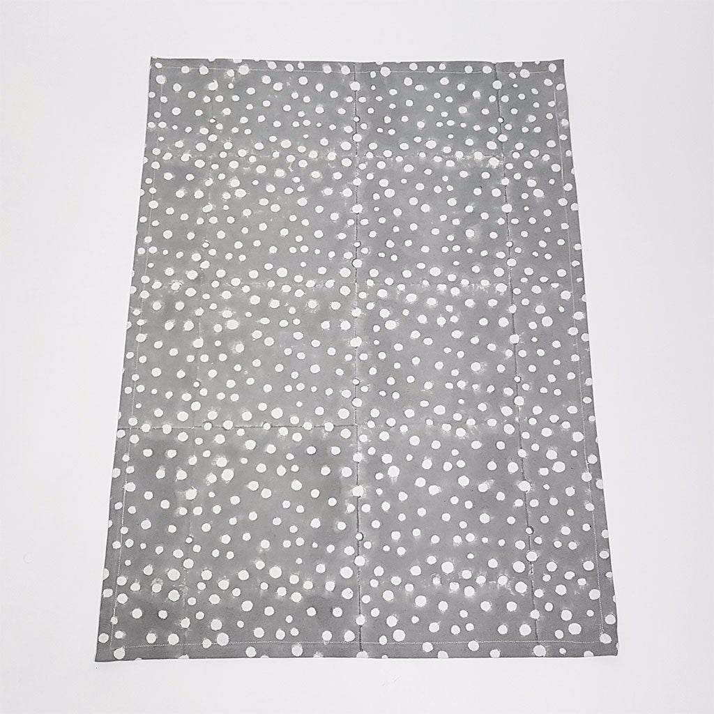 hot haveli alana hand block print polka dot apron grey up