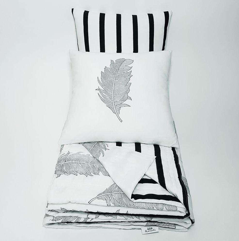 hot haveli alva hand block print monochrome botanical bedspread folded