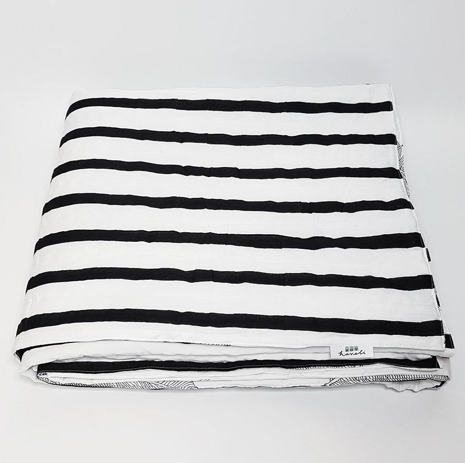 hot haveli alva hand block print monochrome botanical bedspread stripe