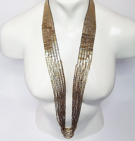 hot haveli annalise long cascading gold necklace styled