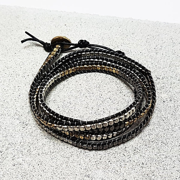 hot haveli arianne metal and black wrap friendship bracelet 1
