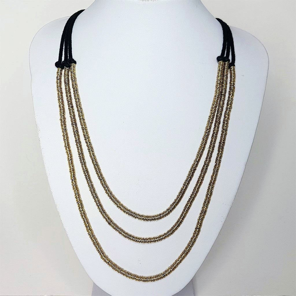 hot haveli basia 3 tier necklace gold and charcoal styled