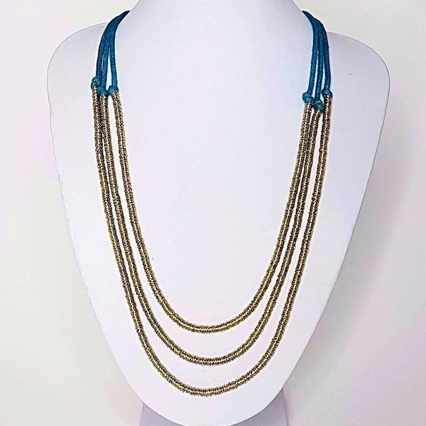 hot haveli basia 3 tier necklace gold and teal styled